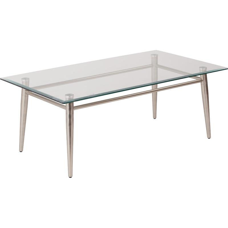 ... Our Ave Six Clear Tempered Glass Top Rectangle Coffee Table   Nickel Is  On Sale Now