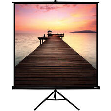 White and Black Portable Height Adjustable Tripod Projection Screen with Matte White Fabric Screen and Black Steel Casing - 70