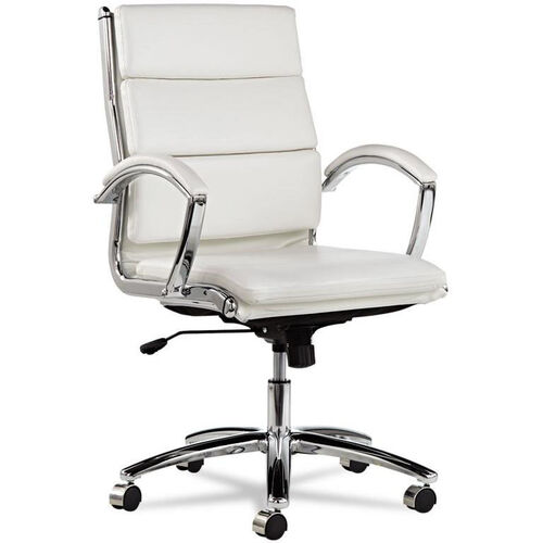 Our Alera® Neratoli Mid-Back Swivel/Tilt Chair - White Stain-Resistant Faux Leather - Chrome is on sale now.