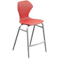 Apex Series Plastic Height Adjustable Stool with Foot Rest - Red Seat and Chrome Frame - 21