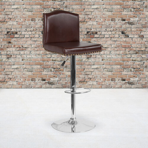Bellagio Contemporary Adjustable Height Barstool with Accent Nail Trim in Brown LeatherSoft