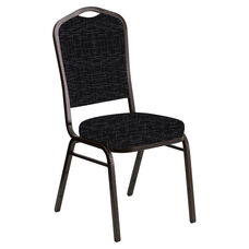 Embroidered Crown Back Banquet Chair in Amaze Ebony Fabric - Gold Vein Frame