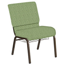 Embroidered 21''W Church Chair in Lancaster Sage Fabric with Book Rack - Gold Vein Frame