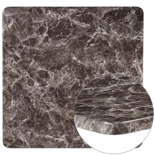 "Our 36"" Square Gray Marble Laminate Table Top is on sale now."