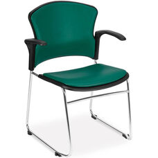 Multi-Use Stack Chair with Anti-Microbial and Anti-Bacterial Vinyl Seat and Back with Arms - Teal