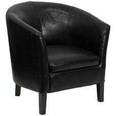 Black LeatherSoft Barrel Shaped Guest Chair