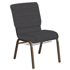 Embroidered 18.5''W Church Chair in Ribbons Gray Fabric with Book Rack - Gold Vein Frame