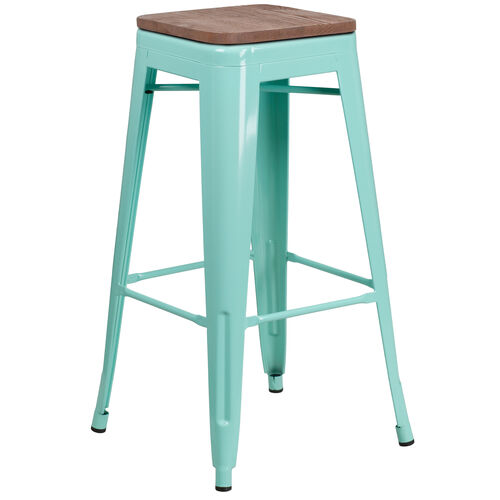 "Our 30"" High Backless Mint Green Barstool with Square Wood Seat is on sale now."