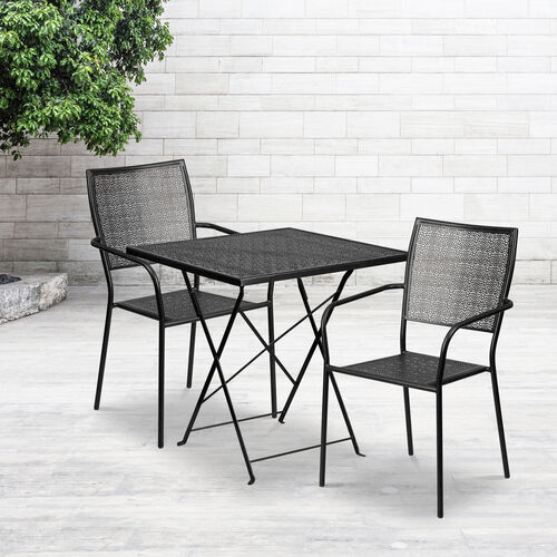 """Our Commercial Grade 28"""" Square Indoor-Outdoor Steel Folding Patio Table Set with 2 Square Back Chairs is on sale now."""