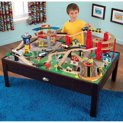 Our Kids Wooden Train Table and Airport Express Train Set with Two Drawers for Storage Includes 100 Pieces is on sale now.