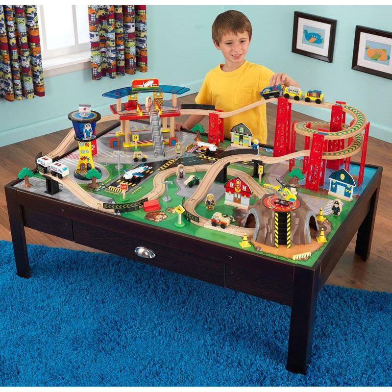 ... Our Kids Wooden Train Table and Airport Express Train Set with Two Drawers for Storage Includes ... & Airport Express Train Set 17976 | Bizchair.com