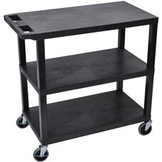 Molded Thermoplastic Resin 3 Flat Shelf Utility Cart with Flat Top Shelf and 4