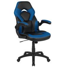 High Back Racing Style Ergonomic Gaming Chair with Flip-Up Arms, Blue/Black LeatherSoft