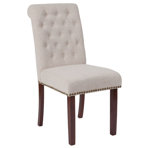 Our HERCULES Series Beige Fabric Parsons Chair with Rolled Back, Accent Nail Trim and Walnut Finish is on sale now.