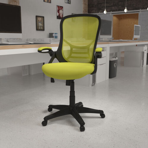High Back Green Mesh Ergonomic Swivel Office Chair with Black Frame and Flip-up Arms