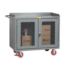 Mobile 2 Door Bench Cabinet with Perforated Doors with Lipped Top - 24