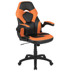 High Back Racing Style Ergonomic Gaming Chair with Flip-Up Arms, Orange/Black LeatherSoft
