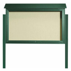 Green Top Hinged Single Door Plastic Lumber Message Center with Vinyl Surface and Post