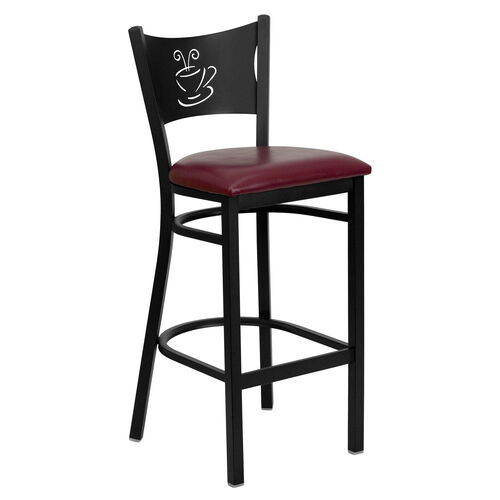 Our Black Coffee Back Metal Restaurant Barstool with Burgundy Vinyl Seat is on sale now.