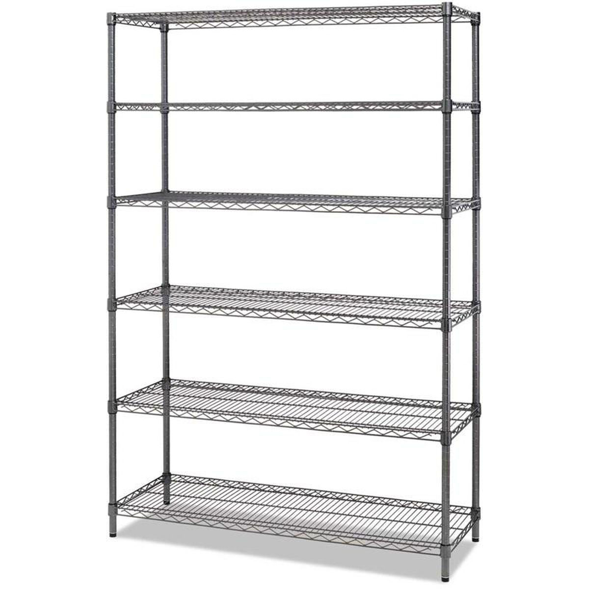 6 Shelf Wire Shelving Unit Black Alesw664818bl Commercial Wiring For Dummies Our Alerareg With Six Shelves 48w X