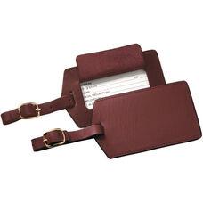 Luggage Tag - Genuine Leather - Burgundy