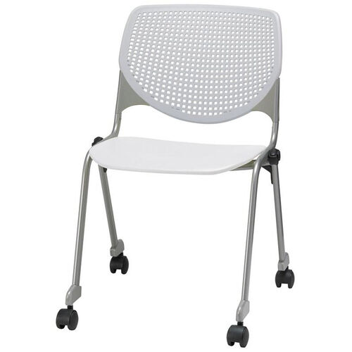 Our 2300 KOOL Series Stacking Poly Silver Steel Frame Armless Chair with Light Grey Perforated Back and Casters - White Seat is on sale now.