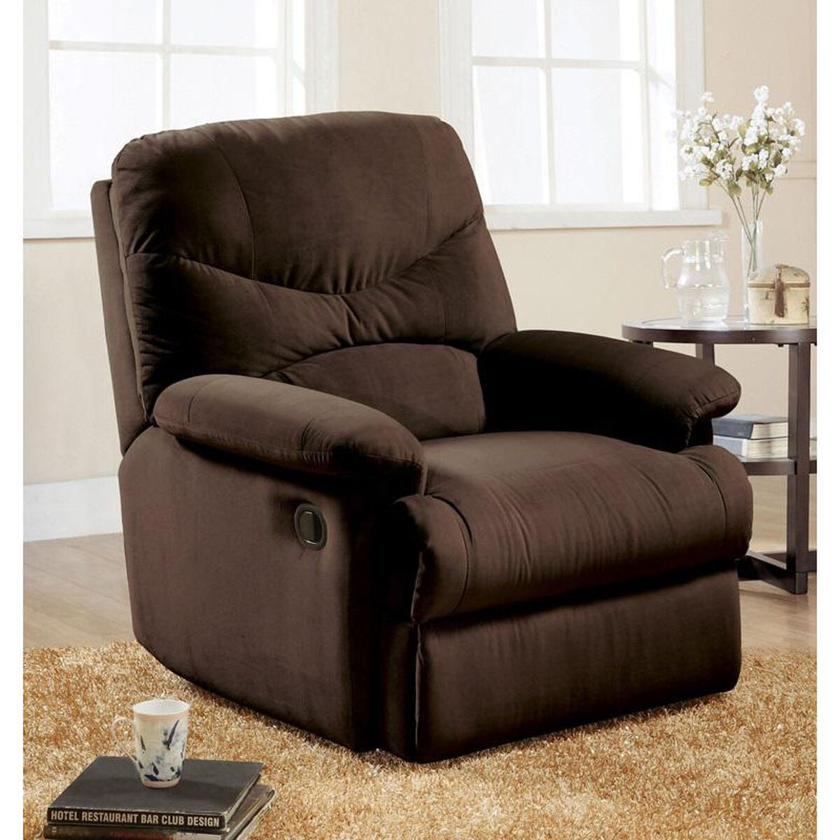 Our Arcadia Transitional Style Microfiber Recliner with Hand Latch -  Chocolate is on sale now.