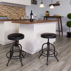 24'' Counter Height Stool with Swivel Lift Black LeatherSoft Seat