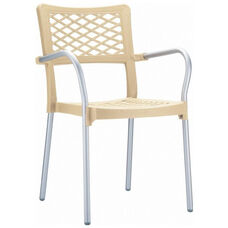 Bella Resin Stackable Dining Arm Chair with Aluminum Frame - Beige
