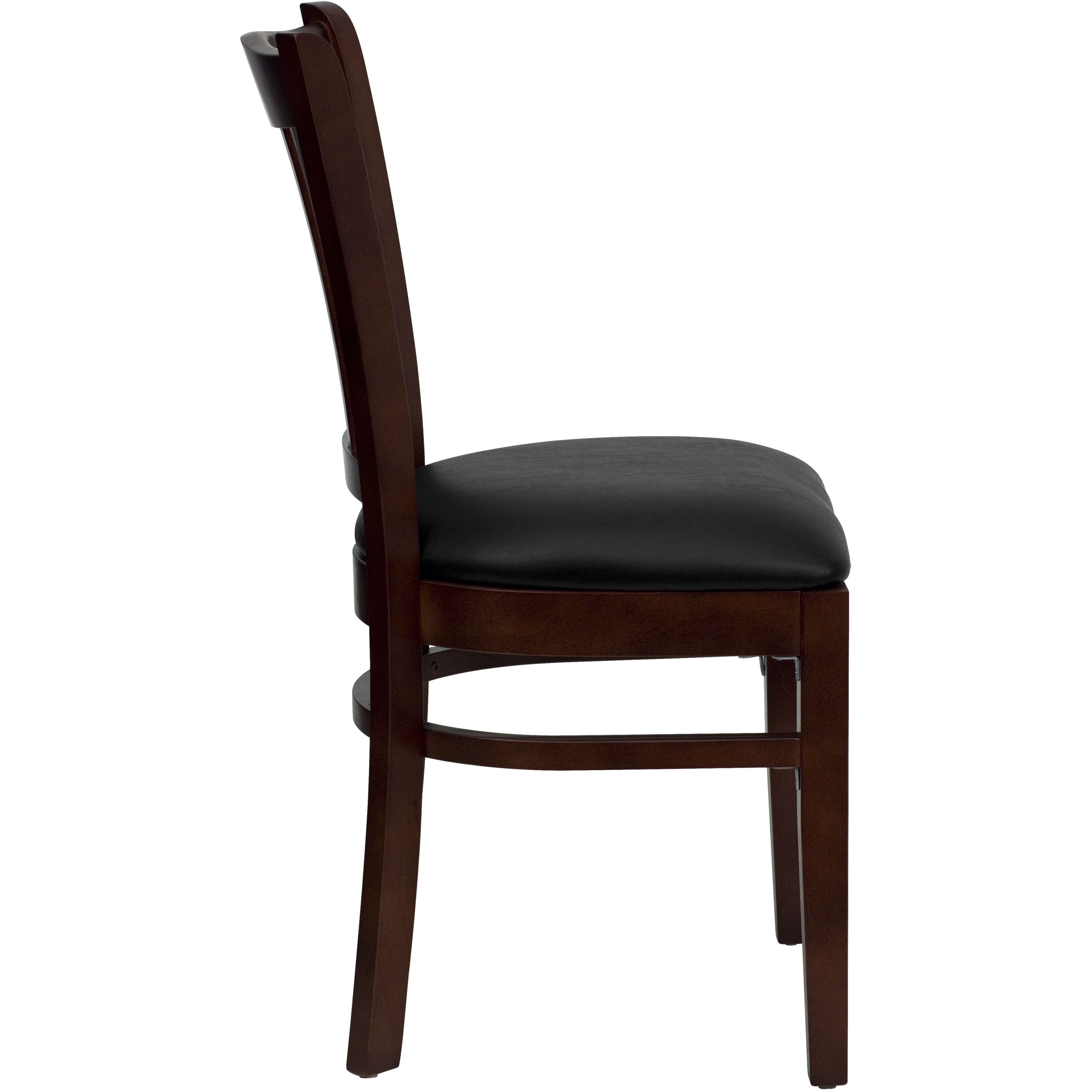 ... Our Mahogany Finished Vertical Slat Back Wooden Restaurant Chair With  Black Vinyl Seat Is On Sale ...