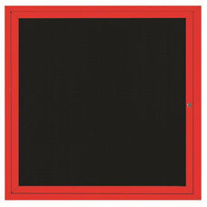1 Door Indoor Illuminated Enclosed Directory Board with Red Anodized Aluminum Frame - 36