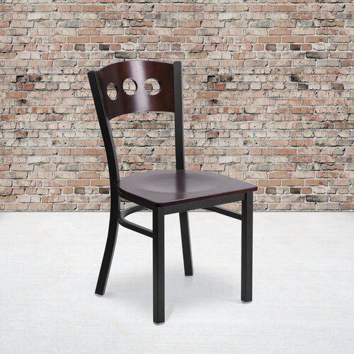 Our Black Decorative 3 Circle Back Metal Restaurant Chair with Walnut Wood Back & Seat is on sale now.