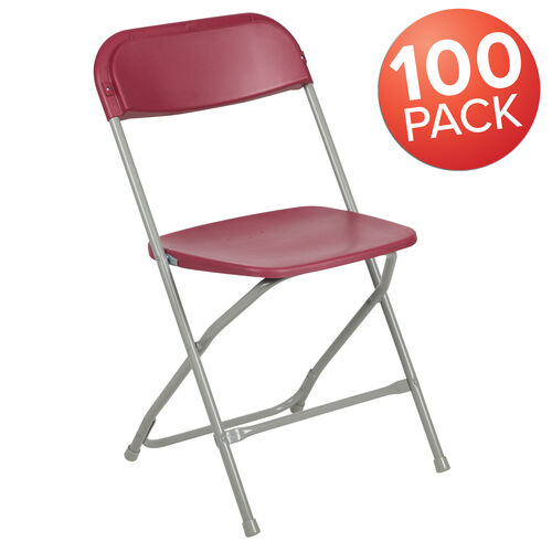 Our HERCULES Series 100 Pack 650 lb. Capacity Premium Red Plastic Folding Chair is on sale now.