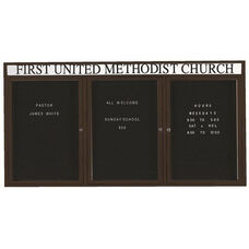 3 Door Indoor Illuminated Enclosed Directory Board with Header and Black Anodized Aluminum Frame - 36
