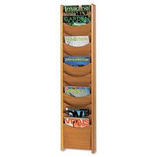 Safco® Solid Wood Wall-Mount Literature Display Rack - 11-1/4 x 3-3/4 x 48 - Medium Oak