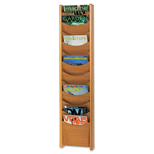 Our Safco® Solid Wood Wall-Mount Literature Display Rack - 11-1/4 x 3-3/4 x 48 - Medium Oak is on sale now.