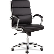 Alera® Neratoli Series Mid-Back Swivel/Tilt Chair - Black Leather - Chrome Frame