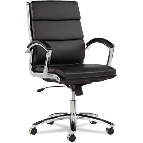 Our Alera® Neratoli Series Mid-Back Swivel/Tilt Chair - Black Leather - Chrome Frame is on sale now.