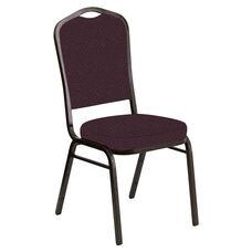 Crown Back Banquet Chair in Venus Aubergine Fabric - Gold Vein Frame