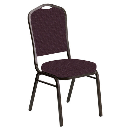 Our Crown Back Banquet Chair in Venus Aubergine Fabric - Gold Vein Frame is on sale now.