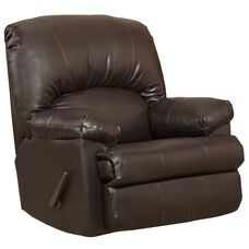 Contemporary Ty Chocolate Leather Rocker Recliner with Pillow Headrest
