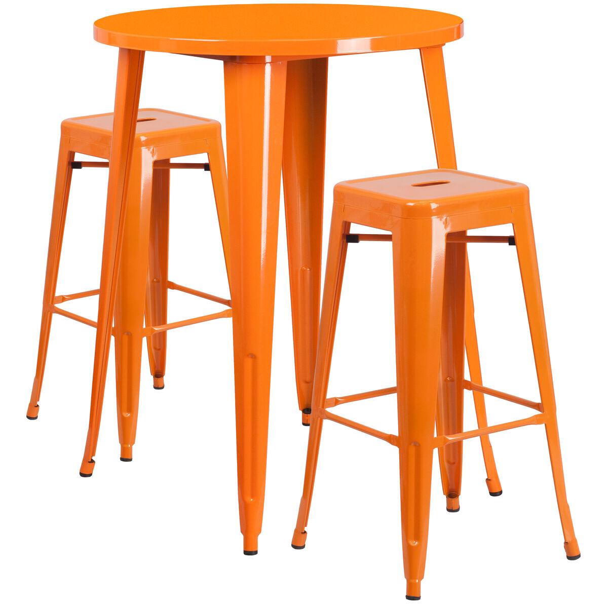 Flash Furniture 30 Round Orange Metal Indoor Outdoor Bar