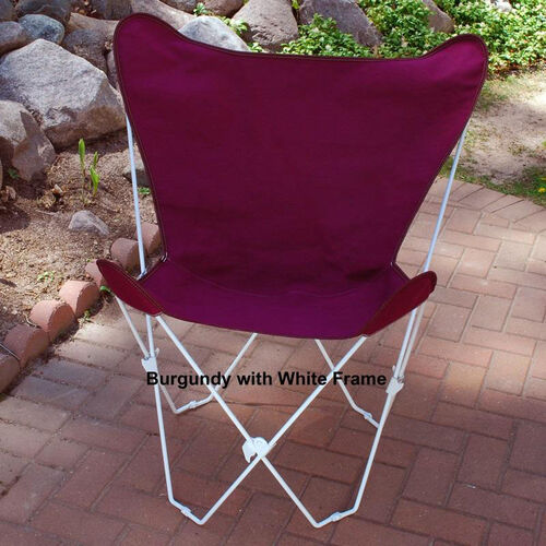 Our Folding Butterfly Chair with White Steel Frame and Cotton Cover - Burgundy is on sale now.