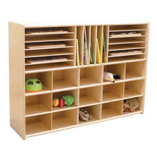 Contender Multi-Storage Unit with 15 Lime Green Plastic Trays - Assembled - 46.75