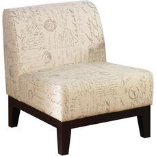 Ave Six Glen Armless Fabric Lounge Chair - Script