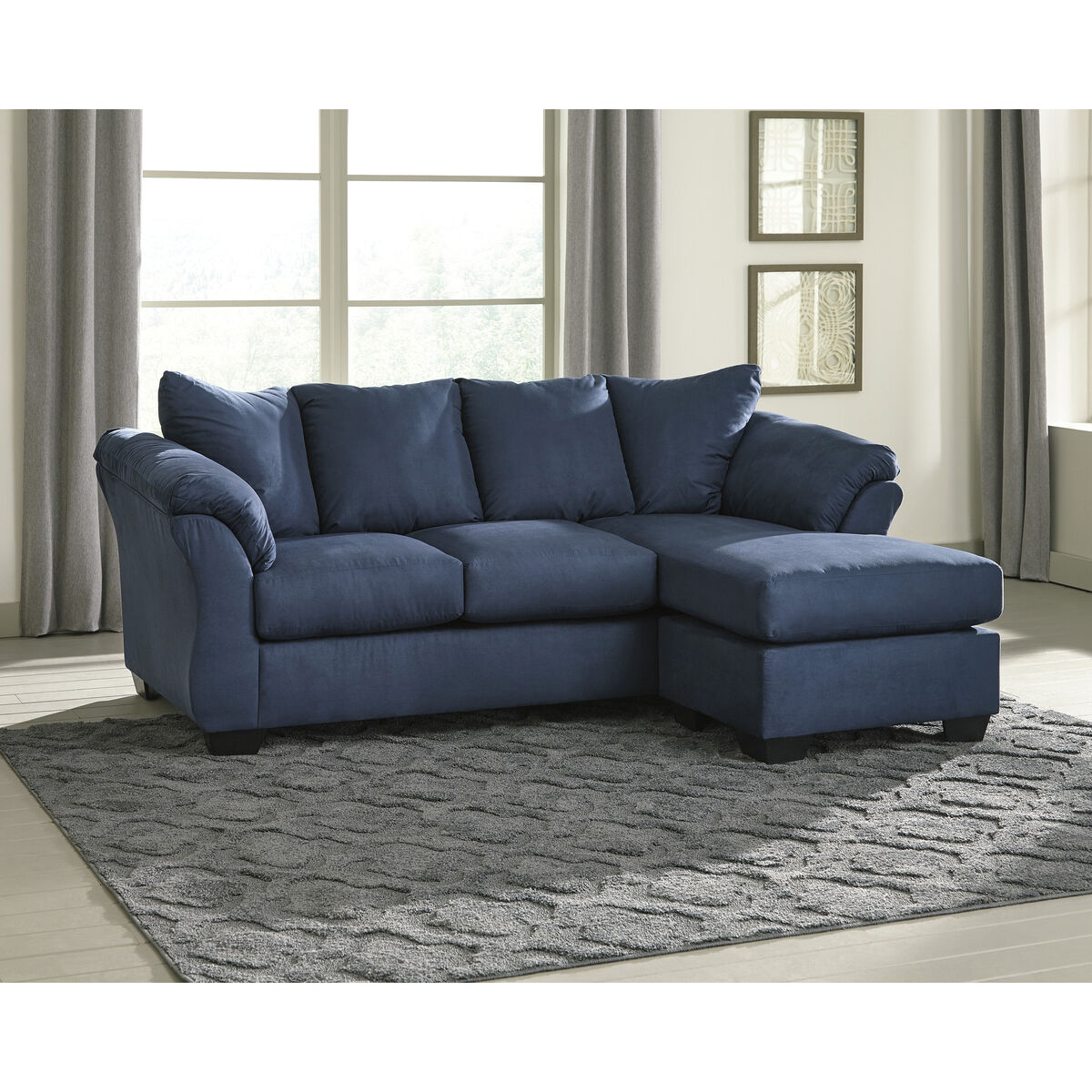 Our Signature Design By Ashley Darcy Sofa Chaise In Blue Microfiber Is On Now