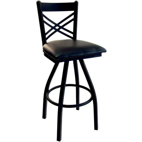 Our Akrin Metal Cross Back Swivel Barstool - Black Vinyl Seat is on sale now.