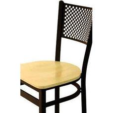 Polk Metal Perforated Back Barstool - Black Wood Seat