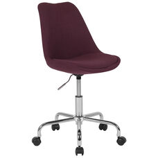 Aurora Series Mid-Back Purple Fabric Task Office Chair with Pneumatic Lift and Chrome Base