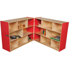 Wooden 16 Compartment Double Folding Mobile Storage Unit - Strawberry - 96